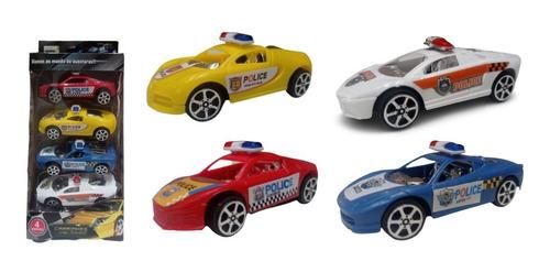 4 Carrinhos Da Policia A Fricçao Barato Carro Brinquedo
