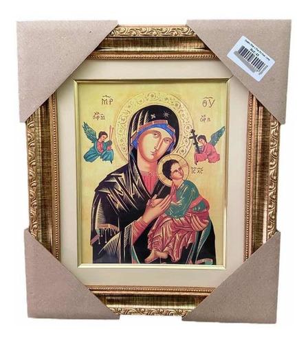 Quadro Nossa Senhora Do Perpétuo Socorro 32x38cm Com Vidro