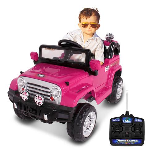 Carrinho Elétrico Infantil Jipe Trilha Rosa Com Controle 12v