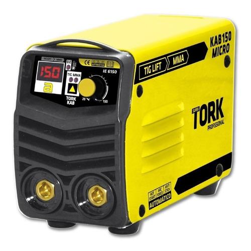 Máquina De Solda Inverter Super Tork Profissional Kab 150 Micro Bv Amarelo 127v/220v