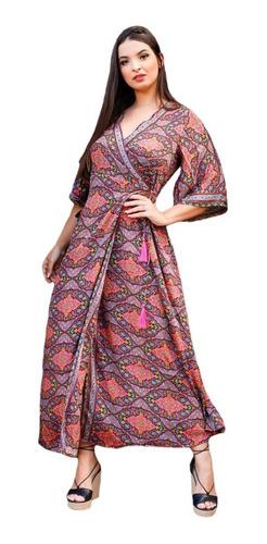 Vestido Indiano Longo De Seda Transpassado Kimono