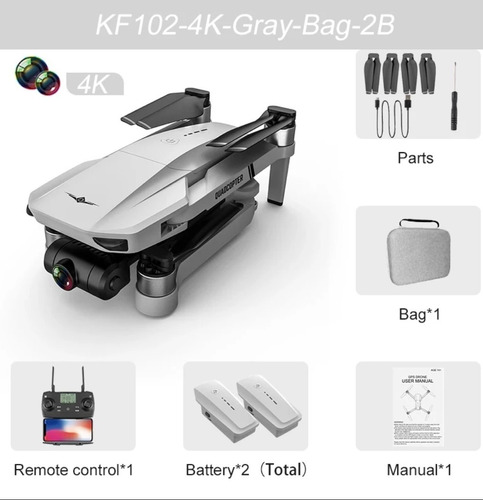Drone Kf102 Gimbal Brushless Câmera 4k - Bag + 2 Baterias