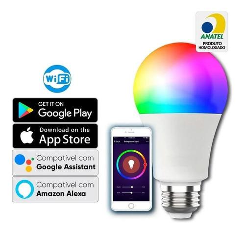 Kit 2und Lampada Led Inteligente 9w Rgb Wi-fi Android Ios