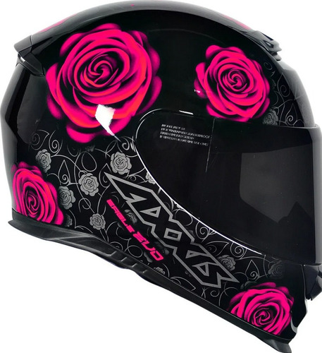 Capacete Feminino Moto Axxis Eagle Evo Flowers Rosas Gloss