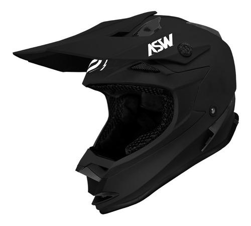 Capacete Asw Fusion Solid Preto Fosco Motocross Trilhamoto