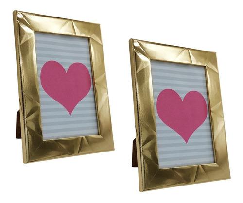 2 Porta Retratos 10x15 Gold Sala Quarto Escritório Tendência