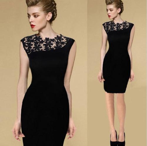 Vestido Feminino Com Detalhes Em Renda Fashion Original