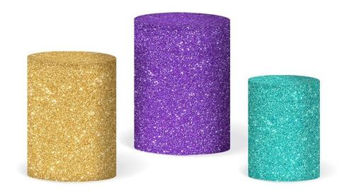 Trio Capas Cilindro Sublimado Glitter Veste Fácil C/elástico
