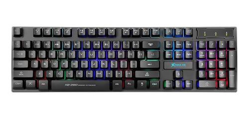 Teclado Gamer Xtrike-me Kb-280 Qwerty Español Color Negro Con Luz Rainbow