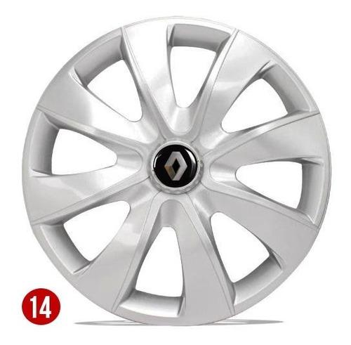 Jogo Calota Aro 14 Renault Clio Sandero  Logan 2008 2009 2010 2011 2012 2013 2014 2015 2016 2017 2018 2019 2020 Silver
