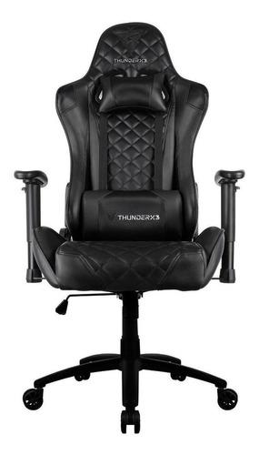 Cadeira De Escritório Thunderx3 Tgc12  Black Com Estofado Do Couro Sintético