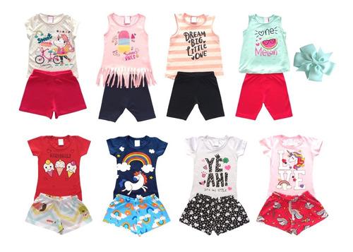 Roupa Infantil Criança Menina Kit 7 Peças Com Laço Grátis