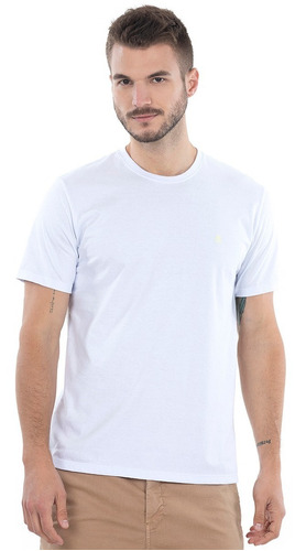 Camiseta Branca Polo Wear Básica Gola Careca
