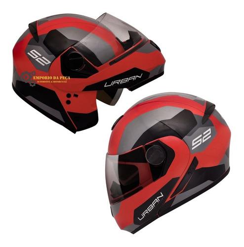 Capacete Articulado Robocop Escamoteável Peels Urban Sinc 2 Vermelho C Óculos Solar Interno