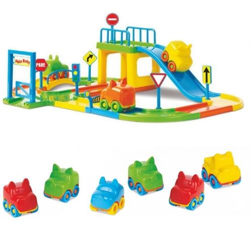 Pista De Carrinhos Brinquedo Corrida Infantil + 6 Carrinhos