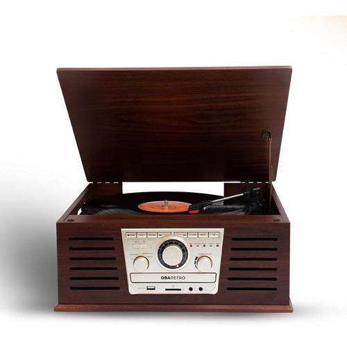 Vitrola Toca Discos Vintage Obaretrô Original Obabox