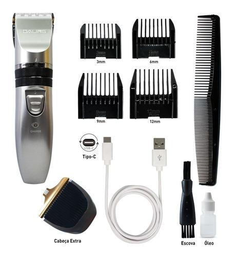 Máquina De Acabamento Cabelo Barba Profissional Recarregável