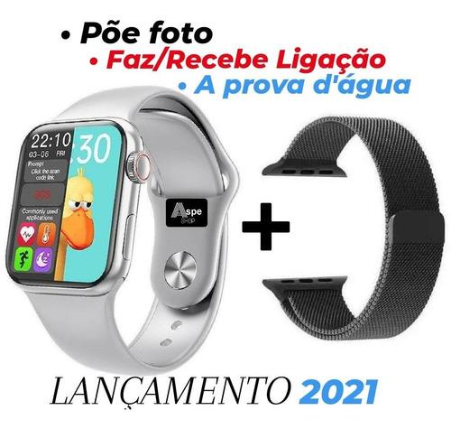 Smartwatch Relógio Iwo Hw12 40mm Prata Cinza Foto + Brinde