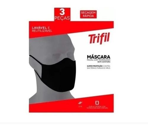 Kit Com 3 Máscaras Trifil Original Lavável Confortável