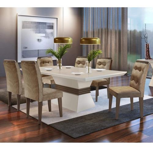 Conjunto Sala De Jantar Mesa Tampo Mdf 6 Cadeiras Clarice
