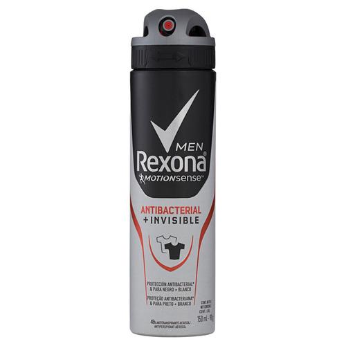 Antitranspirante Em Aerossol Rexona Antibacterial E Invisible Men Motionsense 150 Ml