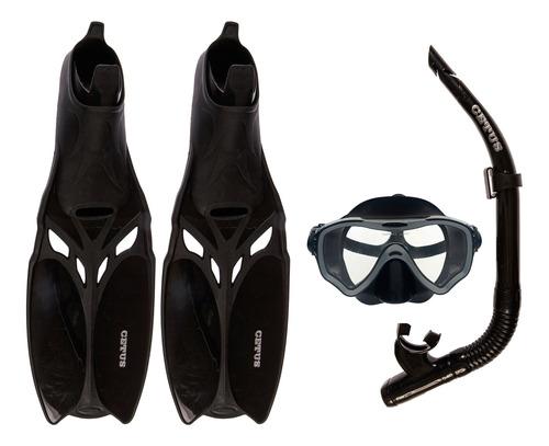Kit Mergulho Máscara+nadadeira+snorkel Silicone Cetus Cobia