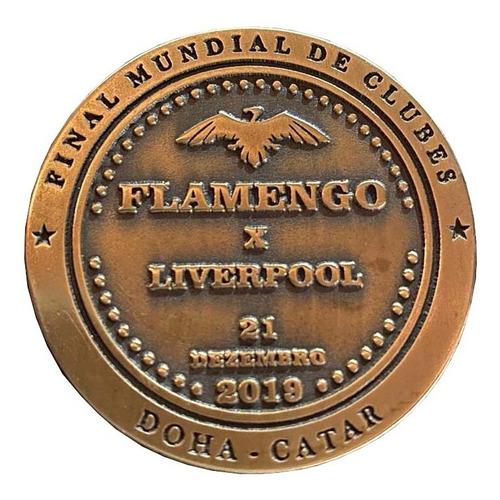 Medalha Moeda Final Mundial 2019 - Flamengo X Liverpool Un