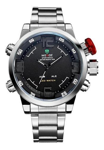 Relógio Weide Anadigi Casual Wh-2309 Prata Vermelho