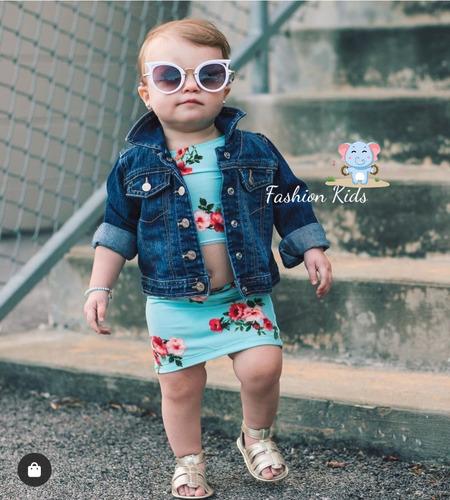 Jaqueta Com Lycra Jeans Casaco Bebê Menina