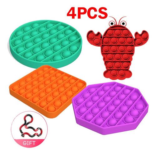4pcs Popit Sensory Bubble Fidget Toy Com Presente