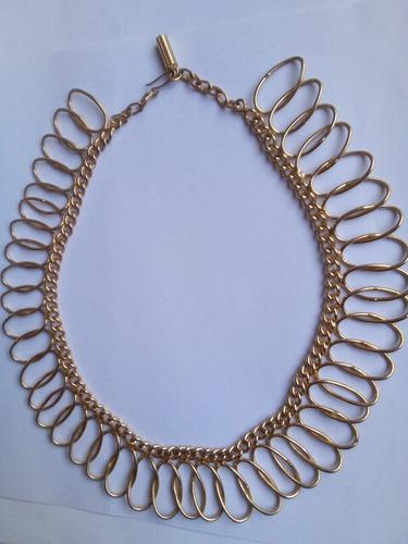 Collar Cadena Diseño Rulos Bañado Oro 42cm Regalo Imperdible