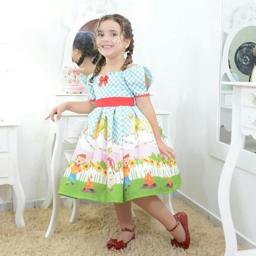 Vestido Infantil Tema Festa Junina Xadrez - 1 A 10 Anos