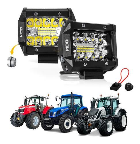 Farol De Led Milha Auxiliar 60w Combo 9,5cm Prova Agua 12v 24v P/ Maquina Trator Agricola Caminhao C Fuse E Botão - Par!