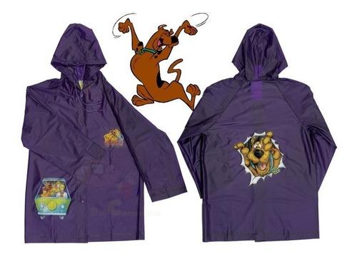 Capa De Chuva Infantil Scooby doo Com Touca Ajustável Roxo