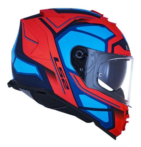 Capacete Ls2 Ff800 Storm Faster Fosco Laranja Fluor E Azul