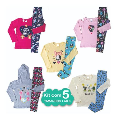Kit 5 Roupas Femininas Frio Baratas Conjunto Infantil Menina