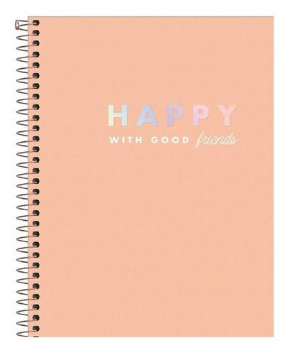 Caderno Universitário 10 Matérias Happy Cores Diversas
