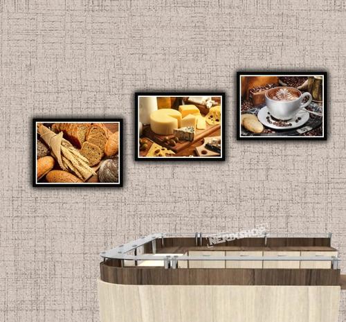 Kit 3 Quadros 30x42cm Decorar Padaria Pousada Restaurante