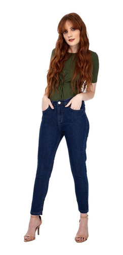 Calça Jeans Feminina Skinny Cintura Média Azul Mizu