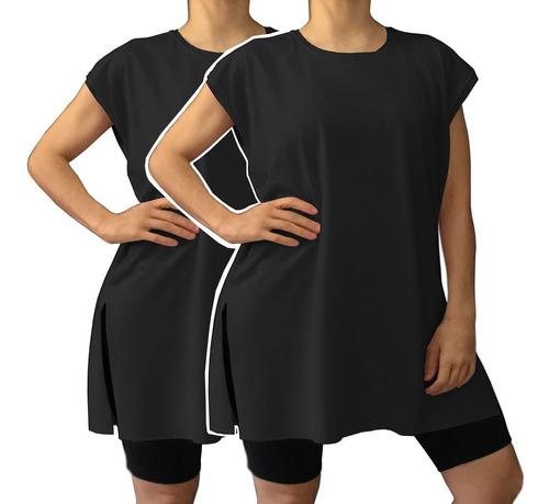 Kit 2 Camiseta Plus Size Tipo Vestido Academia Caminhada