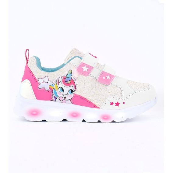 Zapatillas Footy Wow Unicornio 2 Abrojos Con Luz De Niños