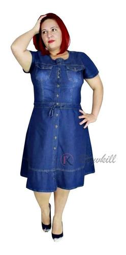 Vestido Moda Evangélico Jeans Leve Liso Plus Size Suellen
