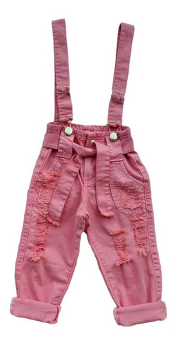 Jardineira Salopete Jeans Infantil Feminina Destroyed Menina