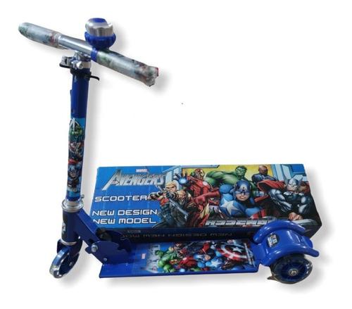 Patinete Infantil Metal Os Vingadores 3 Rodas Led - Buzina