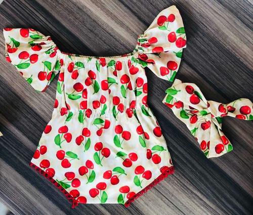 Conjunto Body De Bebê Menina Com Faixa Florais 100% Algodão.