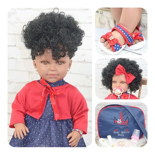 Boneca Bebê Reborn Negra Barata Morena Membros Silicone