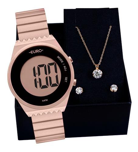 Relógio Feminino Euro Original Fashion Slim Colar E Brincos