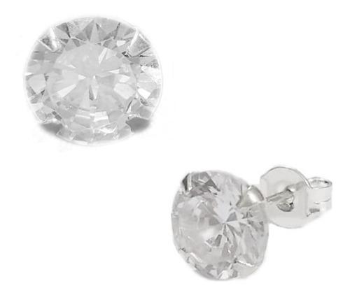 Brinco Masculino De Prata Pura 925 Diamante Sintético 8mm+nf
