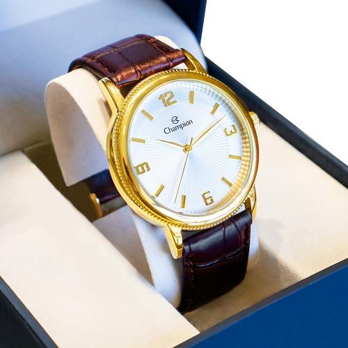 Relógio Masculino Champion Original Barato Couro Marrom