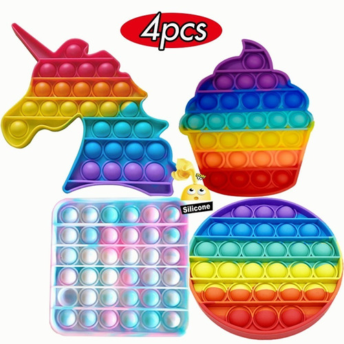 Pop It Fidget Toy Silicone Stress Reliever 4pcs